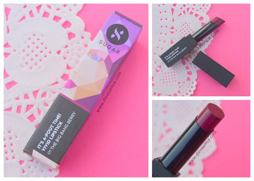 Sugar Cosmetics Vivid It's a pout time lipstick swatch review